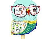 Owl Too Cool. Limited edition art print by Ashley Percival. Illustration art, Poster, Kids Decor.
