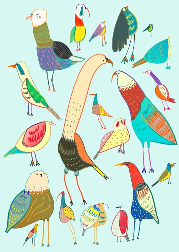 Bird print, Illustration art, prints, kids posters, giclee, ''I Love Birds''.