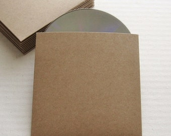 50 Recycled Kraft CD Sleeves No Logo - Wedding Favor, Photography - DVD, DIY