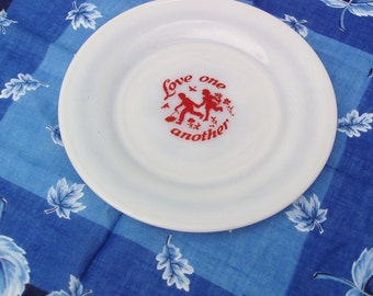 Vintage Small Glass Dish, Collectible Plate, Milk Glass Plate, Sweethearts,  Love Notes