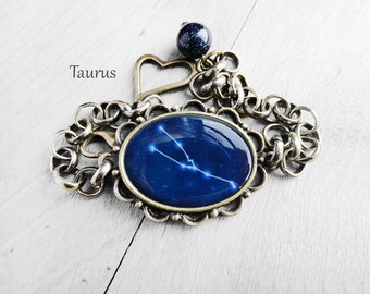 "Get 15% OFF - Handmade Resin "" Taurus"" Constellation Sign Antique Bronze Oval Cabochon Bracelet - Happy Halloween SALE 2016"