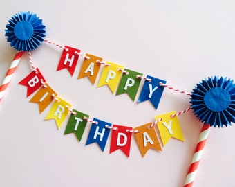 Happy Birthday Pennant, Cake Bunting, Cake Topper, Carnival, Circus, Coloful Banner