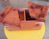 Handcrafted Red Cedar Swivel Top Jewelry/Keepsake Box with inner tray and dividers