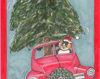 Cat Christmas Card Cat in Red Truck Delivers Christmas Tree Cat in Santa Hat Card