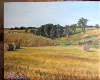 Hay-baling Day Summer Field Hay Season 16x20 original acrylic painting on stretched canvas