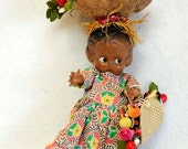 "Vintage 1950s Hard Plastic 6"" Jointed Arms Costume Doll.. Puerto Rico Original Dress, Purse & Fruit On Head"