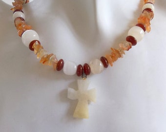 Mexican Onyx Cross with Mexican Onyx and Carnelian necklace