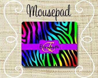 Custom Personalized Mousepad Mouse Pad Zebra Rainbow