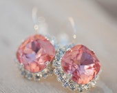 Pink Wedding jewelry Bridal Earrings Vintage Peach dangle Vintage earrings Silver plated earrings Authentic Swarovski rhinestones