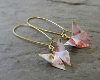 Origami Butterfly Earrings // White Floral
