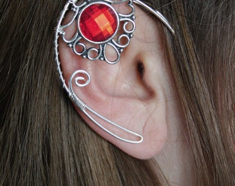 Elven ear cuff - elvish earring - elven ear - elf ear - RED