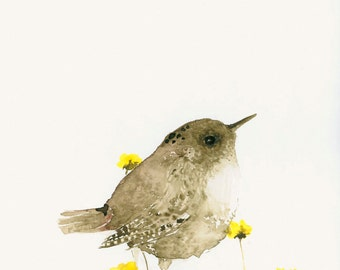 Bird Art Print from Original Watercolor Wren and Yellow Flowers