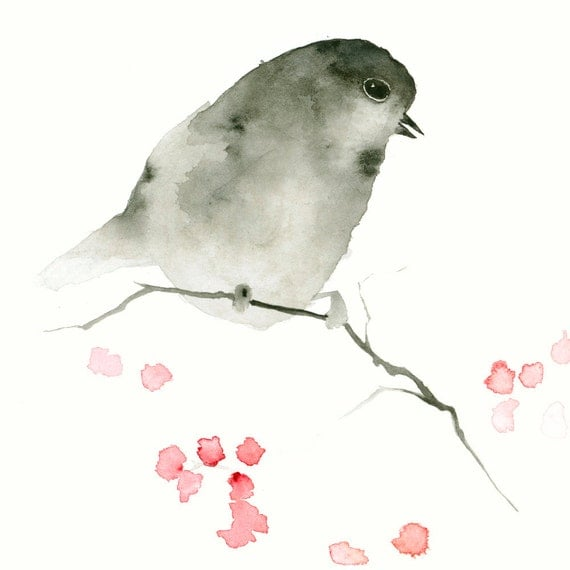 Bird Art Print Little Black Bird