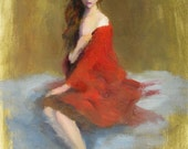In Crimson - original figure oil painting by Keiko Richter 11x14