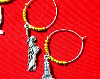 New York City Wine Charms: Set of 5. State of NY, Statue of Liberty, New York Sign, Apple & Empire State Building