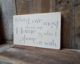 What I Love Most About My Home Is Who I Share It With Distressed Wood Sign