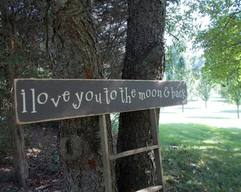 3 FOOT LONG I Love You To The Moon And Back Large Distressed Wood Sign