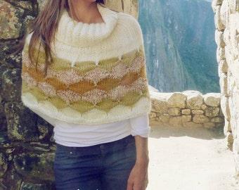 Cape Knit Pattern PDF - Geometric knitting pattern - Instant DOWNLOAD