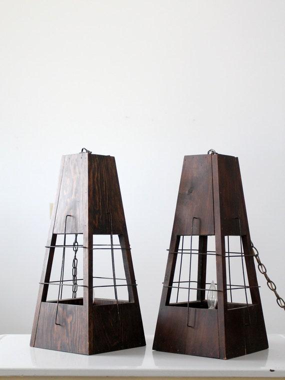 vintage hanging lantern lamps, mid century saloon lights