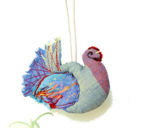 Prosperity Hen, Kitchen Decoration, Textile Ornament, hen party, blue hen