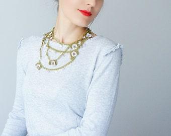 Necklace // Handmade Crochet Flower Earrings - Purple Green - Spring Floral For Her Women Jewelry