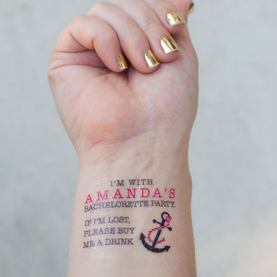 Bachelorette temporary tattoos nautical by kristenmcgillivray for Bachelorette party tattoos