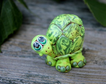 Green Metallic Turtle Polymer Clay Sculpture