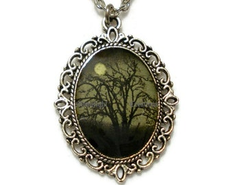 Moonlight Night Full Moon Necklace Pendant Black And Grey