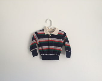 1970s Boys Terrycloth Striped Long Sleeve Shirt Retro Hipster