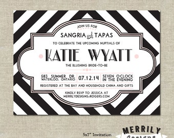 Black and White Striped and Hexagon   Bridal Shower Invitation   Double Sided   Pink and Black