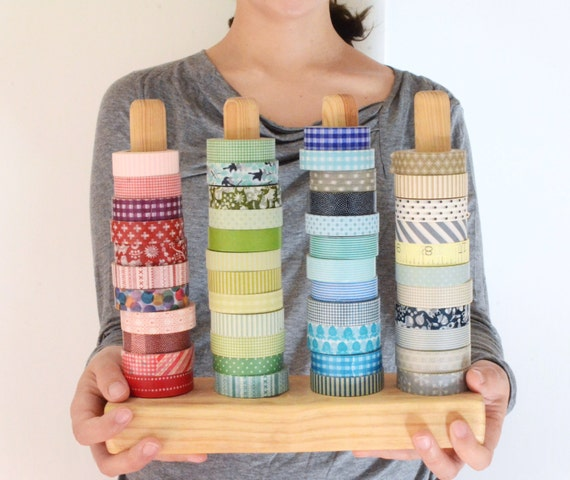 Sturdy Washi Tape Organizer - Wood Masking Tape Holder - Eco friendly Japanese Tape Dispenser for 48 rolls - coworkers gift - under 50