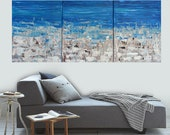 Made To Order-Choose Size-Ocean Beach Abstract Textured Art Multi Panel Large Room Landscape Art by MyImaginationIsYours