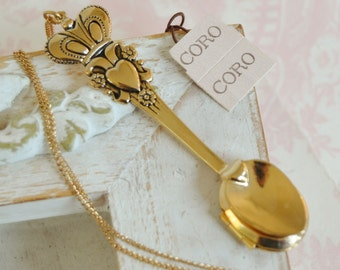 Vintage Spoon Locket on Long Gold Chain by Coro with Original Hang Tag