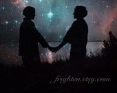 Silhouette of Couple, Space Art, Stars and Planets, Mixed Media Collage, Couple Holding Hands, Surreal Art