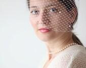 Pearl Studded Veil,  Bridal Pearl Veil, White Veil, Ivory Veil, Birdcage Veil, Bridal Blusher Veil, Wedding Veil