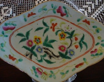 Antique Chinese Famille Rose  Dish Collectible Chinese Ceramics Asian Plates Vintage Pottery Dining Entertaining YourFineHouse Asian Decor