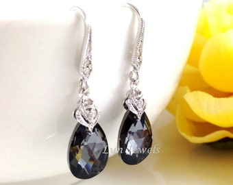 Bridesmaids Black Earrings - Swarovski Crystal Silver Night Teardrop Dangle Earrings Sparkling Cubic Zirconia Earwires