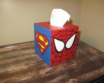Hand painted Superhero tissue box cover