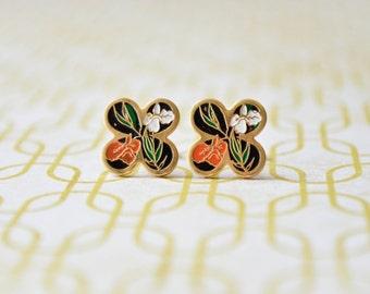 Iris Enamel Earrings - Orange & White Irises - Clover - Flower Earrings - Vintage Cabochons - Surgical Steel Earrings