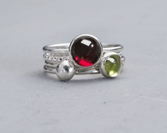 Stacking Rings - Garnet Ring - Peridot Ring - Silver Stacking Ring - Sterling Silver Stacking Ring - ENVY - stackable mothers ring