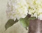 Neutral Flower Watercolor Print, Cream Flower Watercolor, Neutral Wall Art, Flower Wall Art, Vase of Hydrangeas, Cream Flower Painting Art.