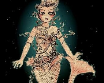 """Bathing in Flowers - The Mermaid - 8"""" x 10"""" Original Artwork Print"""