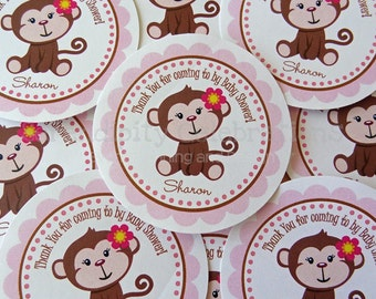 Set of 12 Personalized Favor Tags -Monkey -Thank You Tag -Gift Tag -Baby Shower -Birthday-Sticker-Pink -Blue