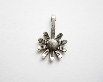 SALE - 8 Sunflower Charms in Silver Tone - C527