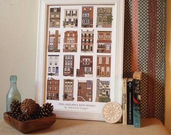 "Philadelphia Row Homes, 12"" x 18"" Poster"
