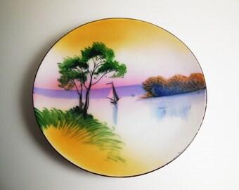 Chikaramachi Japan Decorative Plate - Sailboat - Vintage - Asian Art