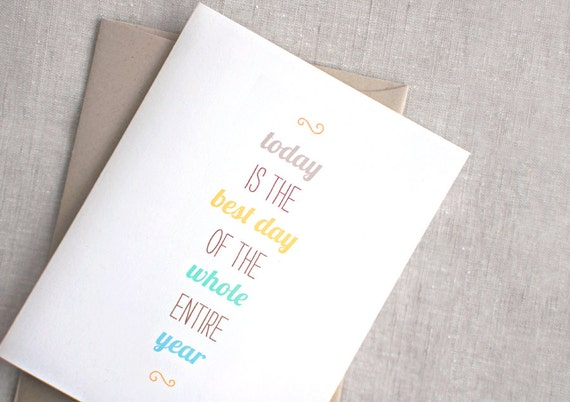 Birthday Card For Him, For Her - Happy Birthday Card, Today is the Best Day - Brown, Gold, Blue, Green - Recycled Card