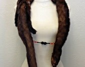 1920s Mink Stole Stunning 4 Pelt Mink Fur with Vintage Art Deco Clip and Chain