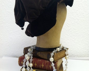 Vintage 1960s Hat Jester Hat Cap with Brown Black Triangles and a Brass Bell