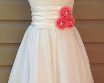 Many colors available, chiffon flower girl dress, chiffon girls dress, baptism dress, flower girl dress, ivory chiffon dress, bridesmaid